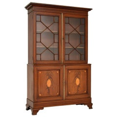 Antique Edwardian Inlaid Mahogany Bookcase