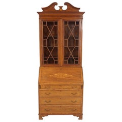 Antique Edwardian Inlaid Mahogany Bureau Bookcase, Scotland 1910, B2428