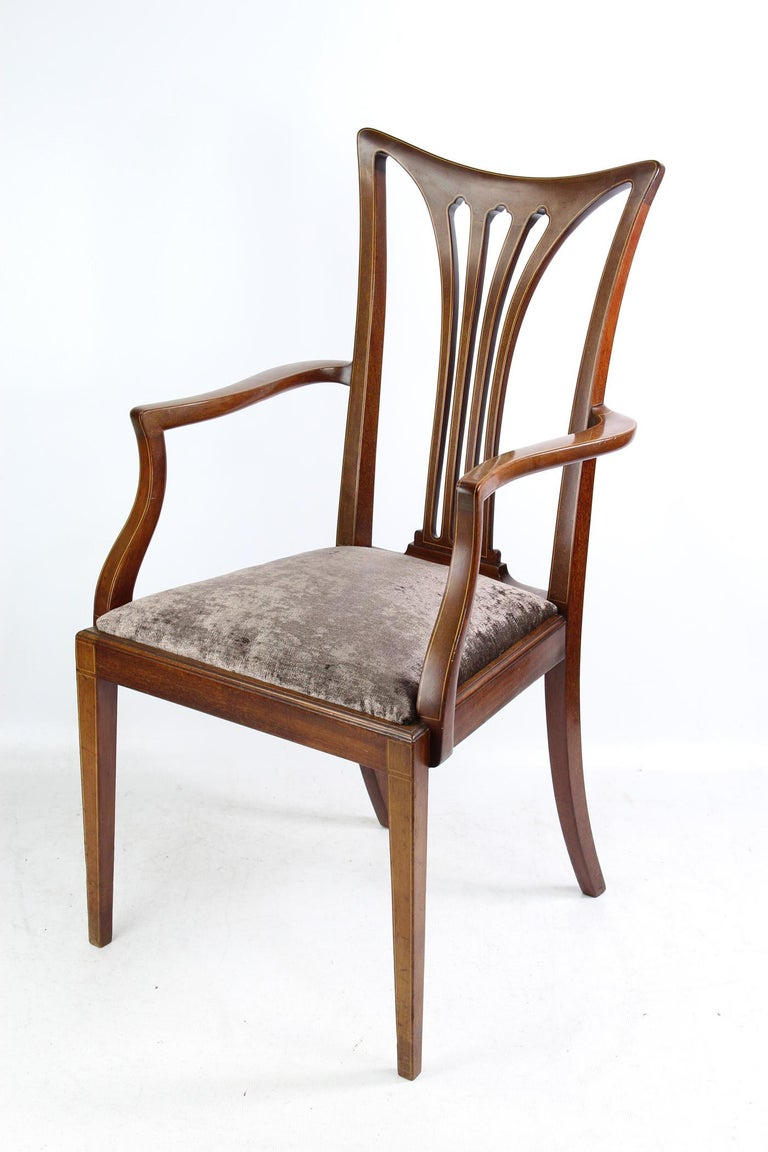 Pleasing Antique Edwardian Inlaid Mahogany Desk Chair Open Armchair Ncnpc Chair Design For Home Ncnpcorg