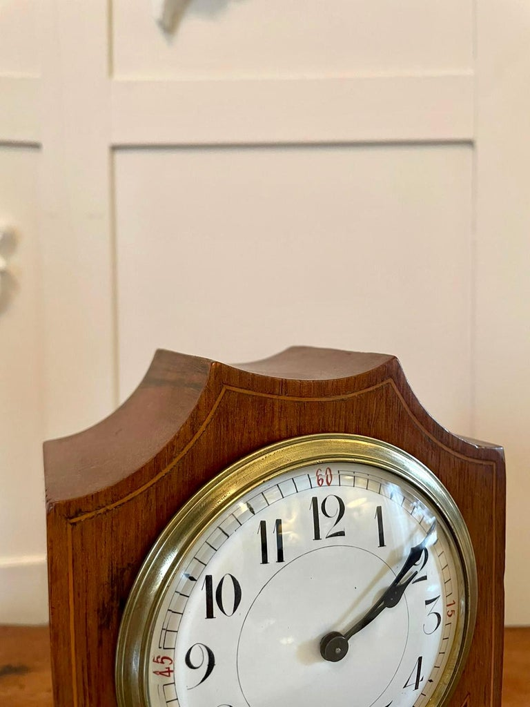 English Antique Edwardian Inlaid Mahogany Eight Day Mantel Clock For Sale