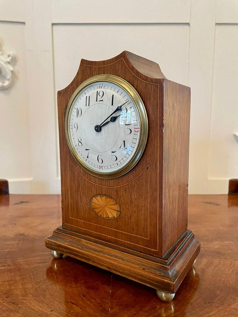 Inlay Antique Edwardian Inlaid Mahogany Eight Day Mantel Clock For Sale