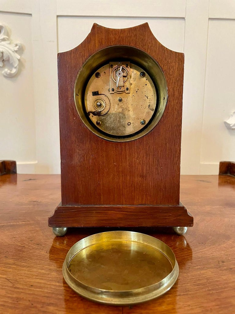 Early 20th Century Antique Edwardian Inlaid Mahogany Eight Day Mantel Clock For Sale