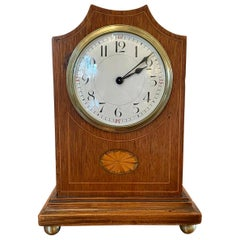 Antique Edwardian Inlaid Mahogany Eight Day Mantel Clock