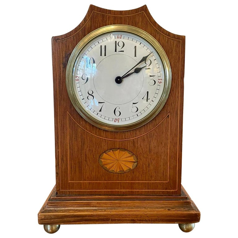 Antique Edwardian Inlaid Mahogany Eight Day Mantel Clock For Sale