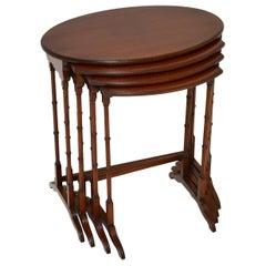 Antique Edwardian Inlaid Mahogany Nest of 4 Tables