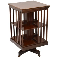 Antique Edwardian Inlaid Mahogany Revolving Bookcase