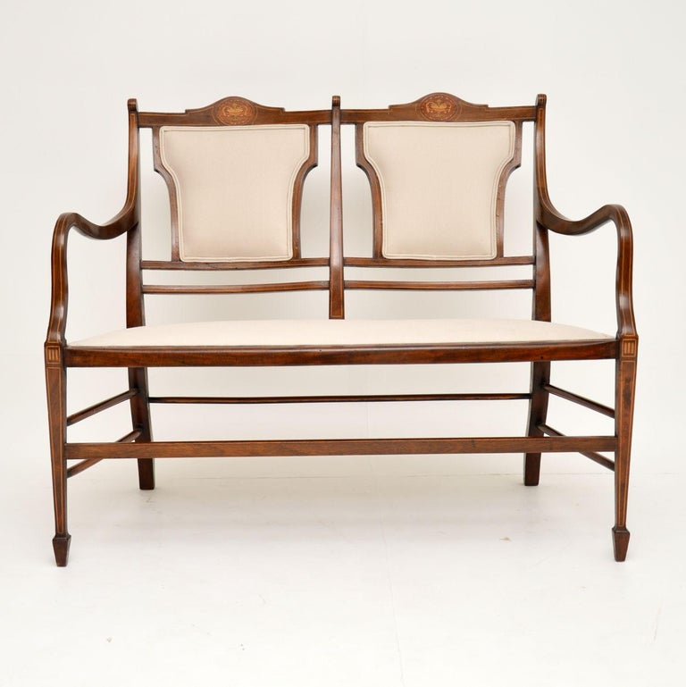 Antique Edwardian Inlaid Mahogany Settee For Sale 5