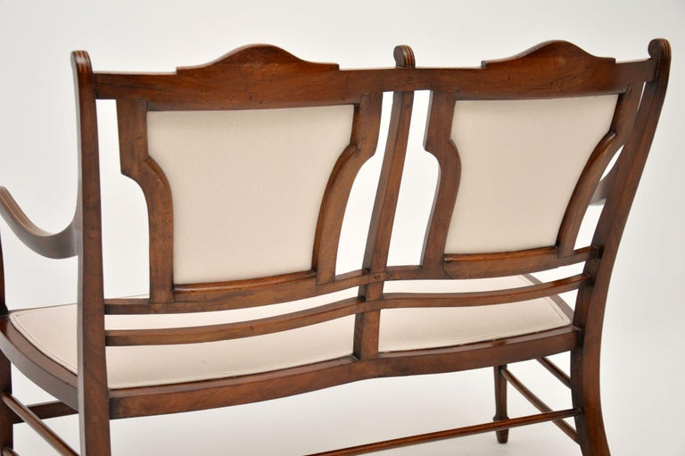 Antique Edwardian Inlaid Mahogany Settee For Sale 6