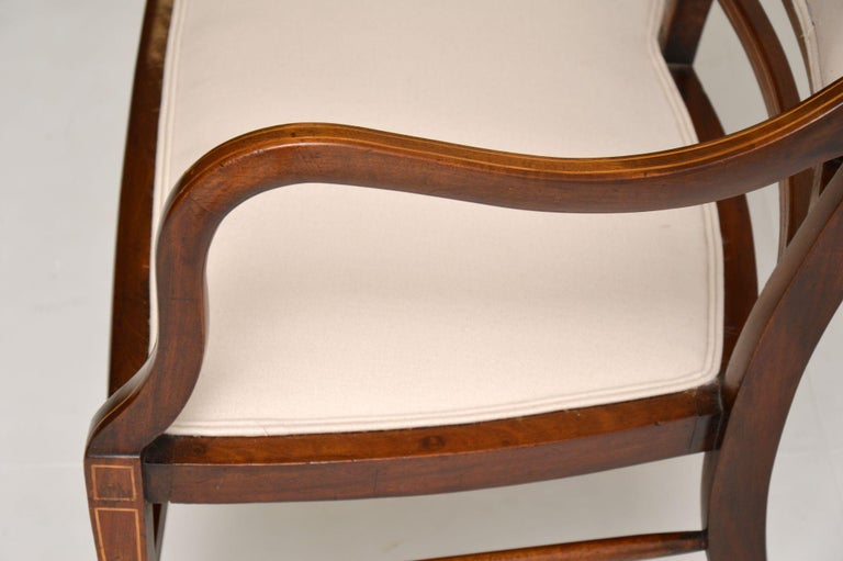 Antique Edwardian Inlaid Mahogany Settee In Good Condition For Sale In London, GB