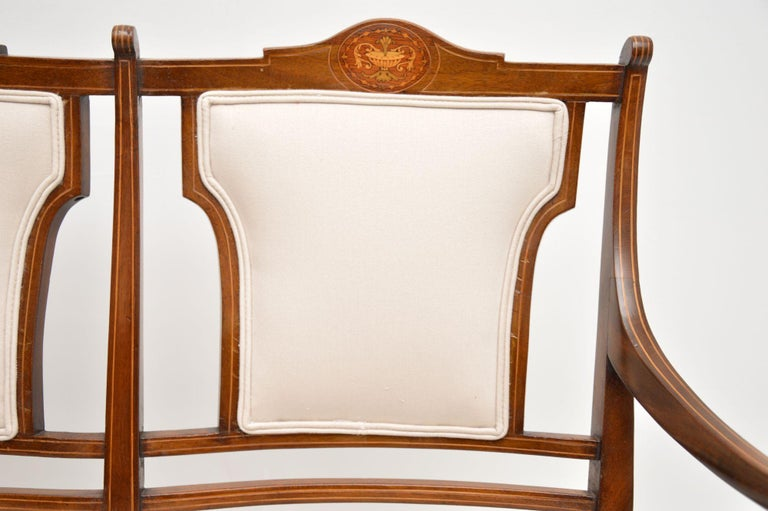 Antique Edwardian Inlaid Mahogany Settee For Sale 2