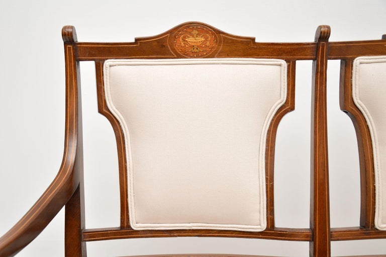 Antique Edwardian Inlaid Mahogany Settee For Sale 3