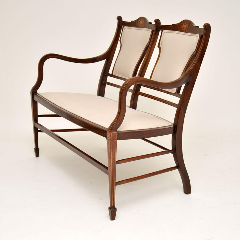 Antique Edwardian Inlaid Mahogany Settee For Sale 4