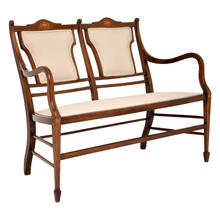 Antique Edwardian Inlaid Mahogany Settee For Sale