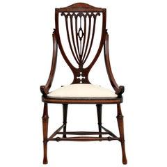 Antique Edwardian Inlaid Mahogany Side Chair