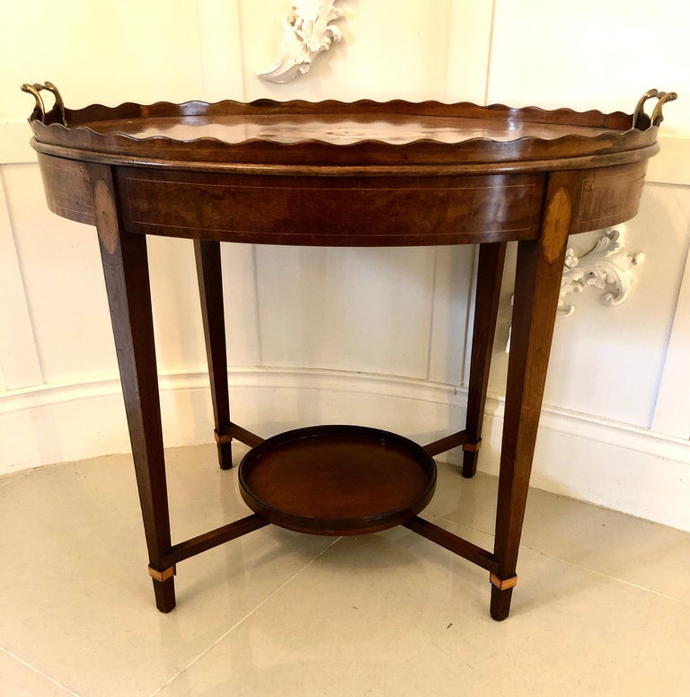 British Antique Edwardian Inlaid Mahogany Tray Table For Sale