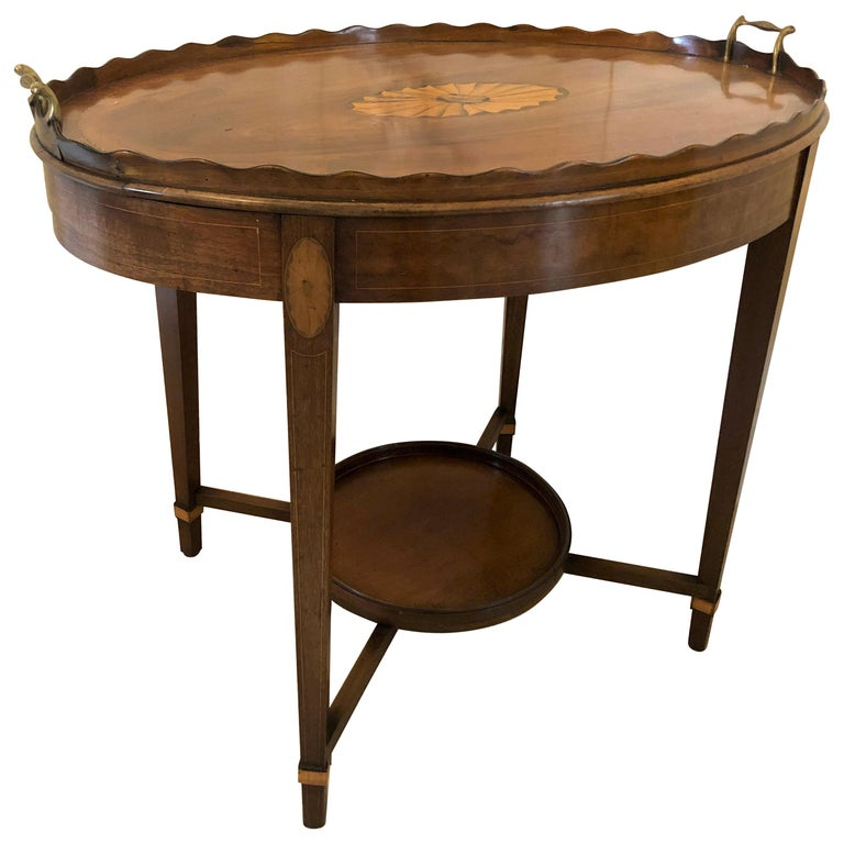 Antique Edwardian Inlaid Mahogany Tray Table For Sale