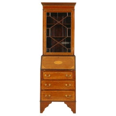 Antique Edwardian Inlaid Walnut Secrétaire Bookcase Bureau Scotland 1900, B1636