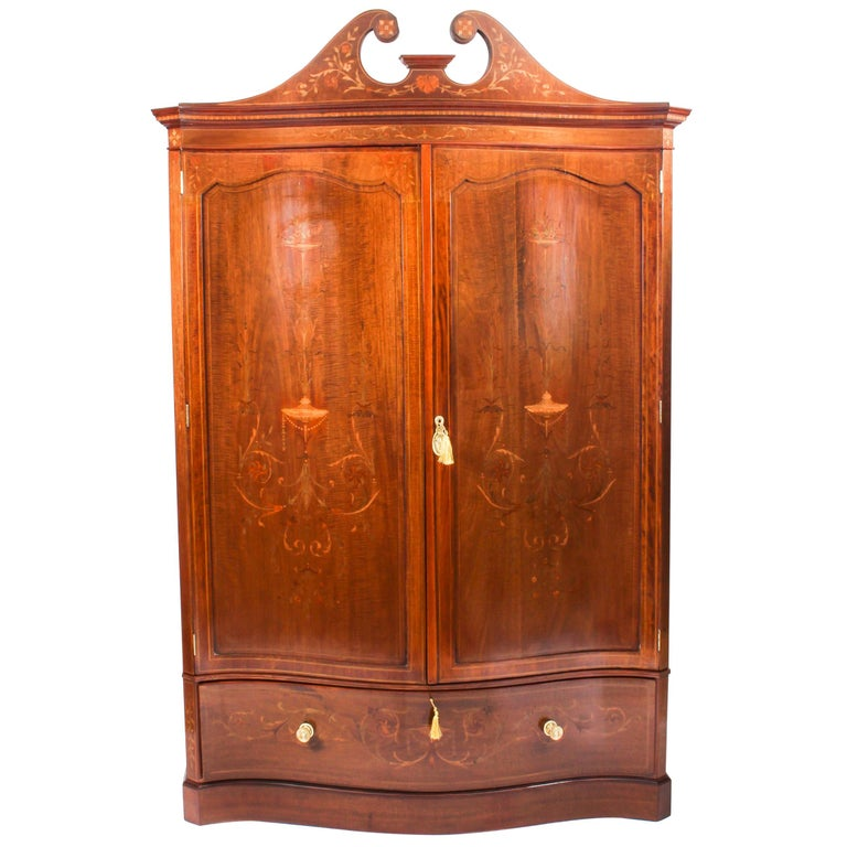 Antique Edwardian Inlaid Wardrobe Attributed to Edwards & Roberts, 19th Century For Sale