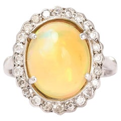 Antique Edwardian Jelly Opal Diamond Cocktail Ring