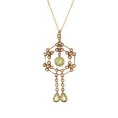 Antike Edwardische Lavaliere Peridot Samen Perlen Halskette mit Anhänger 15 Karat Gold