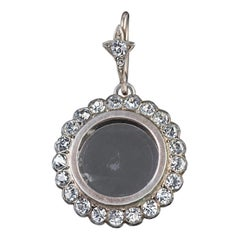 Antique Edwardian Locket Pendant Paste Stone Silver, circa 1910