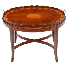Antique Edwardian Mahogany and Satin Walnut Tray on Stand Coffee Table