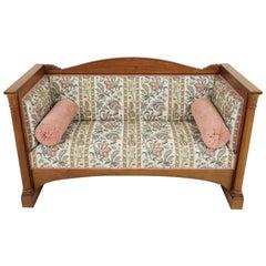 Antique Edwardian Mahogany Arts + Crafts Settee, Sofa, England 1900, B2077