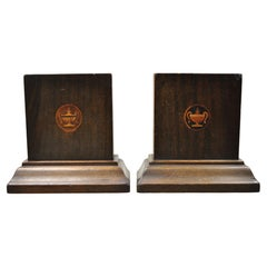 Antique Edwardian Mahogany Bookends with Inlaid Satinwood Urns, a Pair