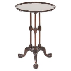 Antique Edwardian Mahogany Carved Pie Crust Lamp Table