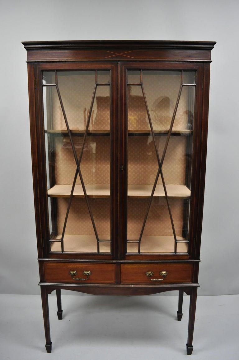 Antique Edwardian Mahogany Inlaid China Cabinet Two Door