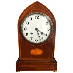 Antique Edwardian Mahogany Lancet Top Mantel Clock