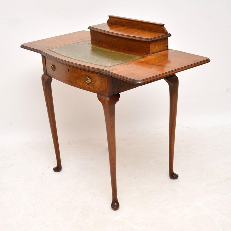 British Antique Edwardian Mahogany and Leather Writing Table For Sale