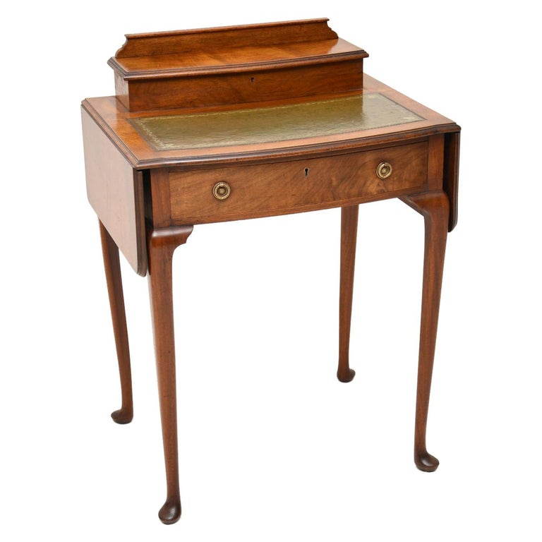 Antique Edwardian Mahogany and Leather Writing Table For Sale