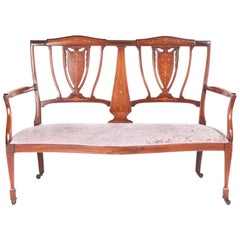 Antique Edwardian Mahogany and Rosewood Inlaid Sofa