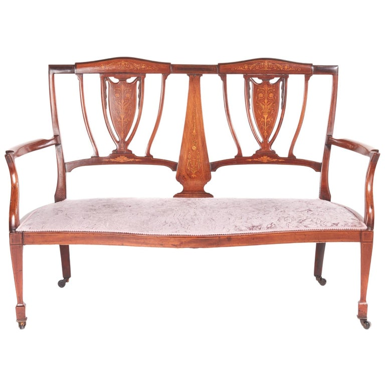 Antique Edwardian Mahogany and Rosewood Inlaid Sofa For Sale