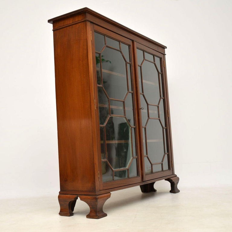 Antique Edwardian Mahogany Two-Door Bookcase For Sale At