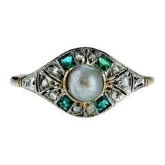 Antique Edwardian Natural Pearl, Emerald and Rose Cut Diamonds in 18 Karat Gold