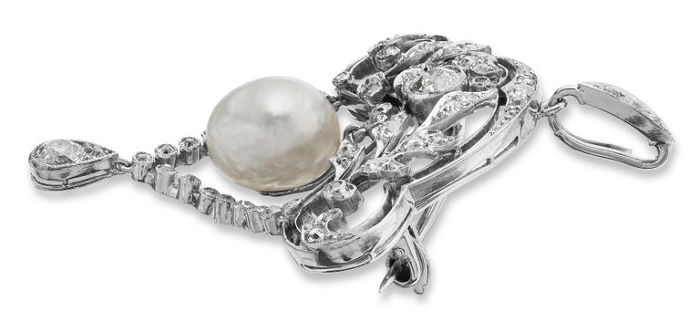 Certified Natural Pearl & Old European Diamond Brooch/Pendant, Antique Edwardian In Excellent Condition For Sale In London, GB
