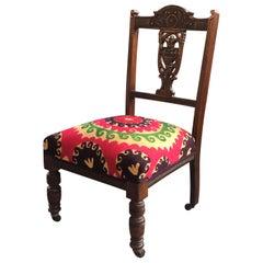 Antique Edwardian Nursing Chair 1850-1900 with Antique Suzani Fabric