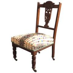 Antique Edwardian Nursing Chair 1850-1900 with Vintage Grain Sack