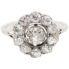 Antique Edwardian Old Cut Diamond Cluster Engagement Ring, circa 1910