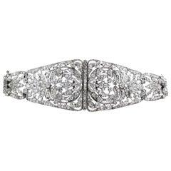 Antique Edwardian Old Cut Diamond Platinum Bracelet, circa 1900