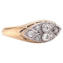 Antique Edwardian Old European Cut Diamond 14 Karat Gold Ring