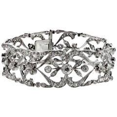 Antique Edwardian Old European Cut Diamond Bracelet in Platinum