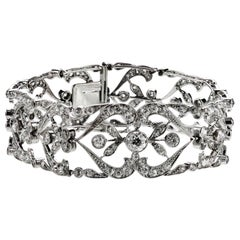 Antique Edwardian Old European Cut Diamond Bracelet in Platinum, Lace Design