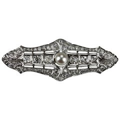 Antique Edwardian Old European Cut Diamonds and Pearl Brooch in Platinum