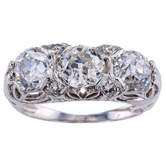 Antique Edwardian Old Mine Cut Diamond Three-Stone Platinum Ring