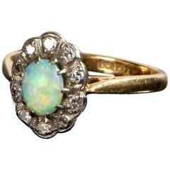 Antique Edwardian Opal Diamond Cluster Ring