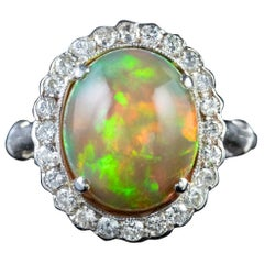 Antique Edwardian Opal Diamond Ring Platinum 6 Carat Natural Opal, circa 1910