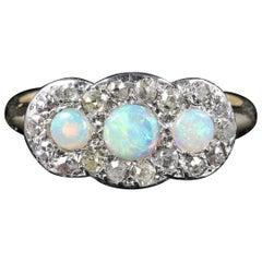 Antique Edwardian Opal Diamond Trilogy Ring 18 Carat Gold, circa 1915